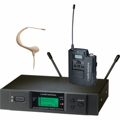 AUDIO-TECHNICA ATW-3193BD-TH 3000 Series Wireless System includes: ATW-R3100b receiver and ATW-T310b UniPak transmitter with beige MicroEarset omnidirectional headworn microphone (TV 44-49)
