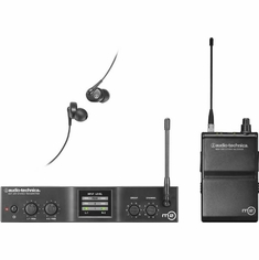 AUDIO-TECHNICA M2L M2 IEM Wireless System includes: M2T stereo transmitter, M2R stereo receiver and EP3 in-ear dynamic headphones, 575.000-608.000 MHz (TV 31-36)
