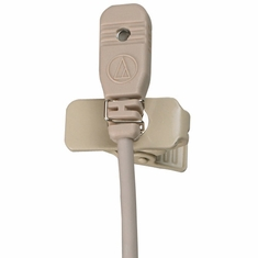 "AUDIO-TECHNICA MT830CT5TH Omnidirectional condenser lavalier microphone with 55"" cable terminated with TA5F-type connector for Lectrosonics wireless, beige"
