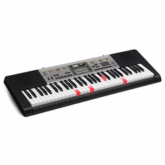 CASIO LK260 61 Piano-style, touch response, lighted keys, 48-Note polyphony, Sound EFX Sampler, Built-in Mic, 400 Tones, 110 Songs, 150 Rhythms. Mic jack with volume control