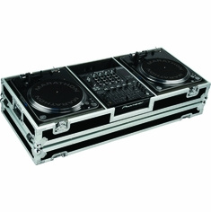 MARATHON � FLIGHT ROAD CASE � MA-2TTDJM9HW BATTLE COFFIN HOLDS 2 TURNTABLES IN BATTLE STYLE POSITION WITH PIONEER DJM-900 NEXUS MIXER W/ LOW PROFILE WHEELS