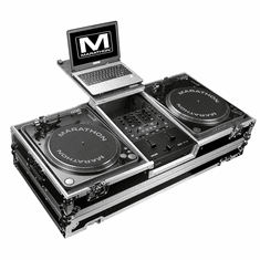 MARATHON FLIGHT ROAD CASE  MA-2TTRN61WLT (MA2TTRN61WLT) BATTLE COFFIN Holds 2 Turntables in Battle-Style Position & Fits RANE SIXTY-ONE SERATO MIXER W/ LOW PROFILE WHEELS + LAPTOP SHELF