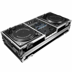 MARATHON FLIGHT ROAD CASE  MA-2TTRN62W (MA2TTRN62W) BATTLE COFFIN Holds 2 Turntables in Battle-Style Position & Fits RANE SIXTY-TWO SERATO MIXER W/ LOW PROFILE WHEELS
