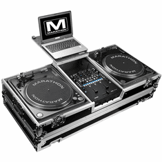 MARATHON FLIGHT ROAD CASE  MA-2TTRN62WLT (MA2TTRN62WLT) BATTLE COFFIN Holds 2 Turntables in Battle-Style Position & Fits RANE SIXTY-TWO SERATO MIXER W/ LOW PROFILE WHEELS + LAPTOP SHELF