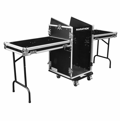 MARATHON FLIGHT ROAD CASES MA-11M16UCT2 11U SLANT MIXER RACK / 16 VERTICAL RACK SYSTEM WITH CASTER BOARD & TABLE