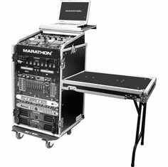 MARATHON FLIGHT ROAD CASES MA-11M16UCTLT 11U Slant Mixer Rack / 16U Vertical Rack System with Caster Board, Table & Laptop Shelf
