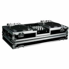 "MARATHON FLIGHT ROAD CASES MA-DJ10W, HOLDS 2 TURNTABLES IN BATTLE STYLE POSITION WITH 10"" MIXER W/ LOW PROFILE WHEELS"