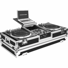 "MARATHON FLIGHT ROAD CASES MA-DJ10WLT - BATTLE Holds 2 Turntables in Battle Style position with 10"" Mixer w/ Wheels & Laptop Shelf"