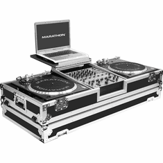 "MARATHON FLIGHT ROAD CASES MA-DJ12WLT - BATTLE Holds 2 Turntables in Battle Style position with 12"" Mixer w/ Wheels & Laptop Shelf"