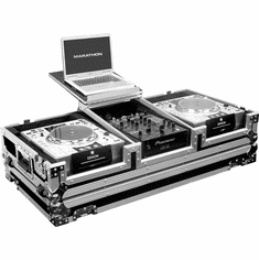 "MARATHON FLIGHT ROAD CASES MA-DJCD10WLT Holds 2 x Large Format CD Players + 10"" Mixer with Wheels & Laptop Shelf"