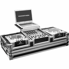 "MARATHON FLIGHT ROAD CASES MA-DJCD12WLT Holds 2 x Large Format CD Players + 12"" Mixer with Wheels & Laptop Shelf"