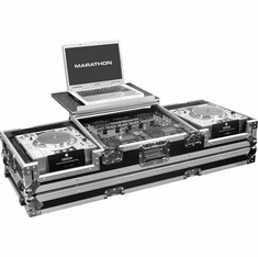 "MARATHON FLIGHT ROAD CASES MA-DJCD19WLT Hold 2 x Large Format CD Players + 19"" Mixer with Wheels & Laptop Shelf"