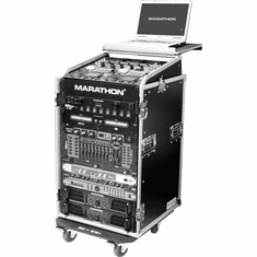 MARATHON FLIGHT ROAD CASES MA-M16UWLT 10U Slant Mixer Rack / 16U Vertical Rack System with Caster Board & Laptop Shelf