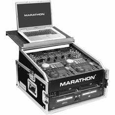 MARATHON FLIGHT ROAD CASES MA-M3ULT 10U Slant Mixer Rack / 3U Vertical Rack System with Full AC Door & Laptop Shelf
