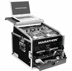 MARATHON FLIGHT ROAD CASES MA-M6ULT 10U Slant Mixer Rack / 6U Vertical Rack System with Full AC Door & Laptop Shelf