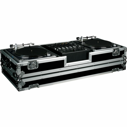 MARATHON FLIGHT ROAD MA-DJ12W HOLDS TWO TURNTABLES IN BATTLE STYLE POSITION