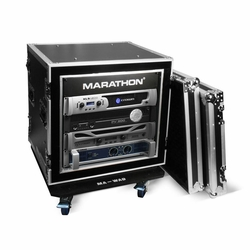 MARATHON MA-10UADSM21W 10U Shock Mount - Amplifier Deluxe Case � 21-Inch Body Depth with Wheels