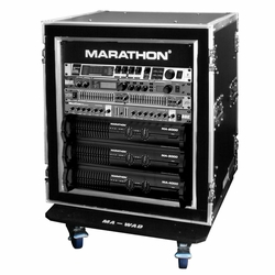 MARATHON MA-12UADSM21W 12U Shock Mount - Amplifier Deluxe Case - 21-Inch Body Depth with Wheels