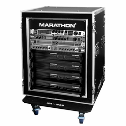 MARATHON MA-14UADSM21W 14U Shock Mount - Amplifier Deluxe Case - 21-Inch Body Depth with Wheels