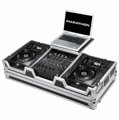 "MARATHON� MA-CDJ2K12WLT Coffin holds 2 x LARGE FORMAT CD Players: Pioneer CDJ2000 + 12"" MIXER: DJM800, Behringer DJX750, DDM-4000, Denon DN-X1500, DN-X1100, DN-X1700 and Laptop Shelf w/ low profile wheels"