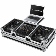 MARATHON MA-DJM9HCDJ2KWLT Case to Hold 2 X Large Format CD Players: Pioneer CDJ-2000 + DJM-900 Nexus Mixer w/ Low Profile Wheels + Laptop Shelf