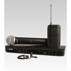 SHURE BLX1288/CVL-H8 Dual Channel Combo Wireless System features BLX2 with PG58 and CVL Lavalier Microphone