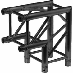SQ-4121 BLK 2-WAY 90 DEG. CORNER BLACK POWDER COAT - GLOBAL TRUSS / DURA TRUSS