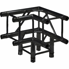 SQ-4126 BLK 3-WAY 90 DEG. CORNER BLACK POWDER COAT - GLOBAL TRUSS / DURA TRUSS