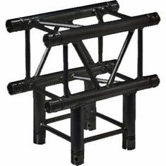 SQ-4129 BLK 3-WAY 90 DEG. T-JUNCTION BLACK POWDER COAT - GLOBAL TRUSS / DURA TRUSS
