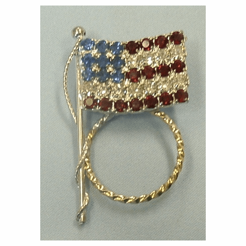 Gold & Silver Combo Crystal American Flag