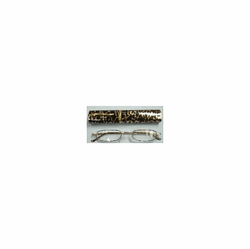 Leopard Reading Glasses with Metal Oval Case