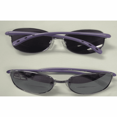Mirrored Bifocal Sunglass with Purple Frames