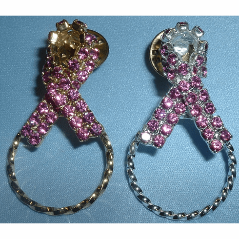 Pink Ribbon in Austrian Crystal