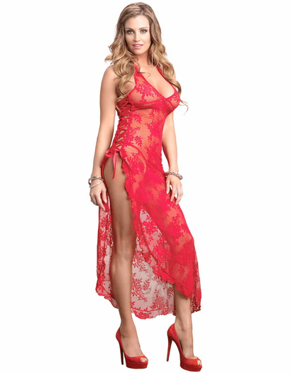 Spanish Rose Long Dress & G-String Set
