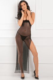 All Out There Black Open Cup Lingerie Dress