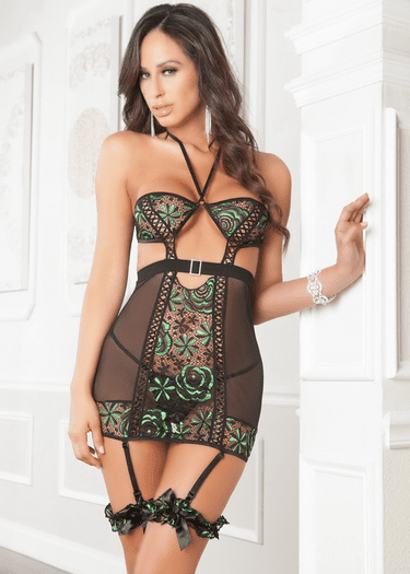 Alluring Gartered Chemise & Thong Set