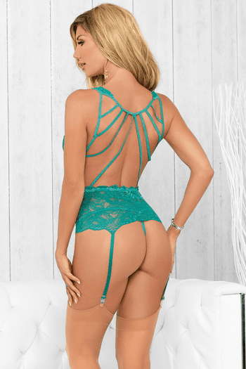 Alluring Green Bustier & Stockings Set