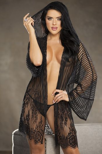 Alluring & Sexy Striped Lace Robe