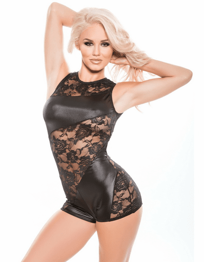 Alluring Wet Look & Lace Teddy Romper