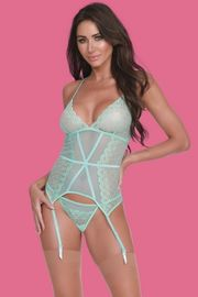 Aqua Lace Gartered Bustier & G-String