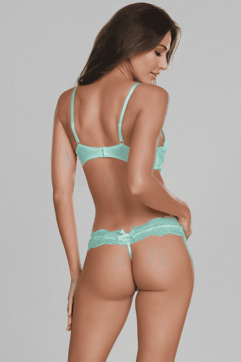 Aqua Lace Shelf Bra & G-String Set