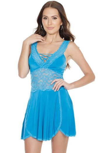 Azure Scalloped Lace Babydoll & G-String