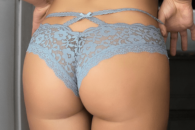 Baby Blue Cut Out Lace Thong