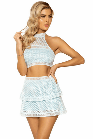 Baby Blue High Waist Skirt & Crop Top Set