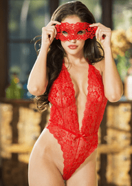 Be My Valentine Lace Teddy & Eye Mask Set