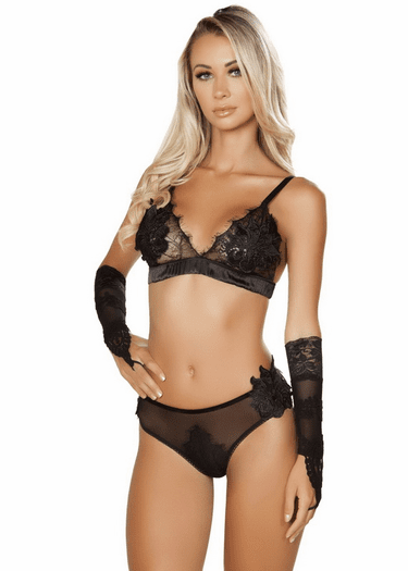 Beating Heart Eyelash Lace Bra & Panty Set