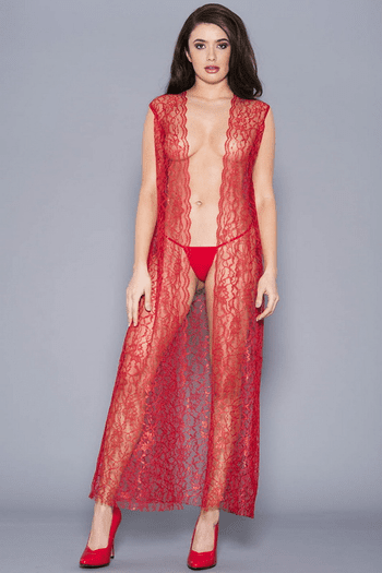 Beautiful Red Draping Lace Robe