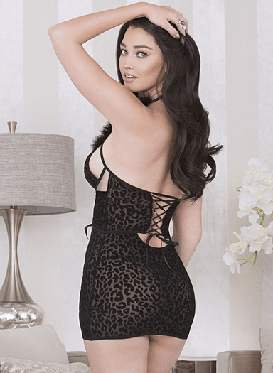 Black Animal Print Marabou Lace Up Chemise