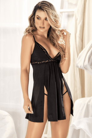 Black Aphrodite Babydoll & G-String Set