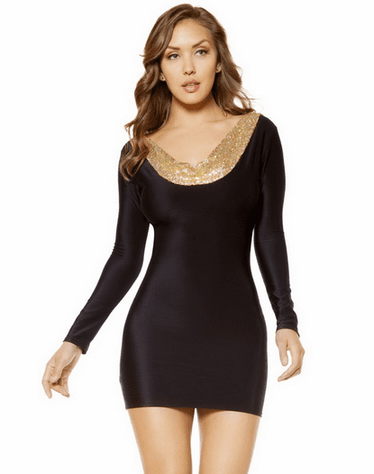 Black Bodycon Metallic Trim Bodycon Dress